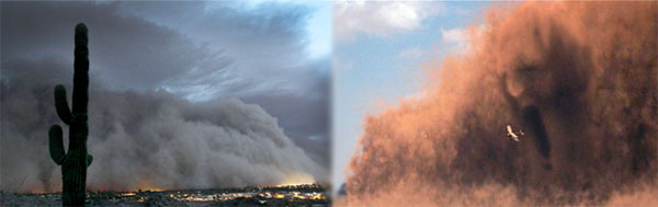 Side-by-side comparison of a real Arizona sandstorm vs. a Hollywood CGI version